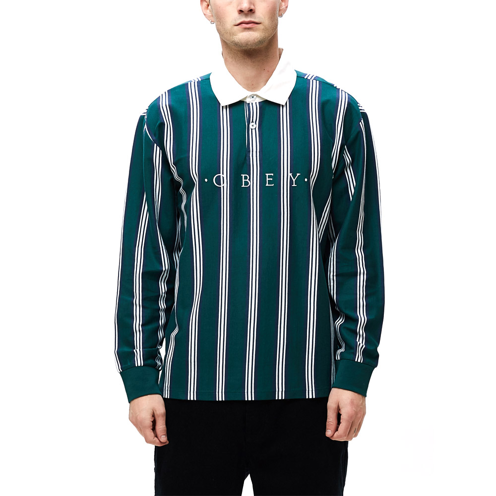 Obey--FIRM-CLASSIC-POLO-LS-Dark-Teal-multi