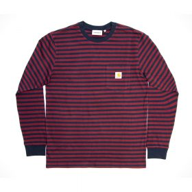 Now in stock the Carhartt L/S Haldon Pocket T-Shirt. Long sleeve striped shirt by carhartt named Carhartt L/S Haldon Pocket T-Shirt made from 100 procent single jersey cotton. It has a loose fit and has a clean patch embroidery. Productcode I02704004V90. This crewneck Long sleeve Carhartt L/S Haldon Pocket T-Shirt has a Dark navy blue and Merlot dark red color scheme and features a small embroidery patch on the chest. If ordered now it will be at your door at high speed by fast shipping. Want to find fitting apparel? See Apparel by Carhartt. or cross combine it with other brands in our stock. More info can be found at the online headquarters of Carhartt WIP. Don't forget to check out our sale page to get lucky. Fier skateshop is based in Dordrecht and is the number one skate shop in the Drechtsteden for shoes, clothing, hardware, service and a big smile when it comes to skateboarding. Also follow us on social media Instagram,Facebook to make sure you're up to date with new products and specials.