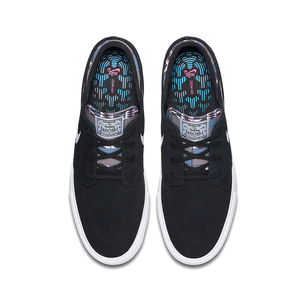 Now in stock the Nike SB Janoski RM Black Multi. Remastered version of the iconic janoski shoe by Nike SB and Stefan Janoski. The Nike SB Janoski RM Black Multi Premium edition stylizes the classic skate shoe with a punch of color. A patterned canvas sockliner with responsive zoom air full length cushioning that delivers the performance you need of a shoe. Back in '09, most skate shoes were big and bulky. Nike SB pro Stefan Janoski set out to break the mold with his signature shoe. He wanted to be able to feel everything underfoot, so we made it lower, flatter and lighter. The result showed Stefan's no-nonsense personality in every detail—right down to the motto on his old-school patch. Geometric shapes between the midsole and the outsole expand and contract in all directions for better boardfeel and flexibility. Rubber has been thinned out in key areas for a lightweight, broken-in feel right out of the box. Productcode: CI2231001 This Shoe Nike SB Janoski RM PRM has a Fresh black and amethyst tint multi color scheme and has the classical nike swoosh. If ordered now it will be at your door at high speed by fast shipping. Want to find fitting apparel? SeeApparel by Nikecombine it with other brands in our webshop in theShoesApparelHeadwearSpecialsHardwareAccessoires. More info can be found at the online headquarters ofNike SB or Nike. Don't forget to check out oursalepage to get lucky. Fier skateshopis based in Dordrecht and is the number one skate shop in the Drechtsteden for shoes, clothing, hardware, service and a big smilewhen it comes to skateboarding. Also follow us on social mediaInstagram,Facebookto make sure you're up to date with new products and specials.